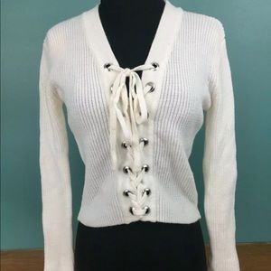 Rue 21 lace up front sweater xs